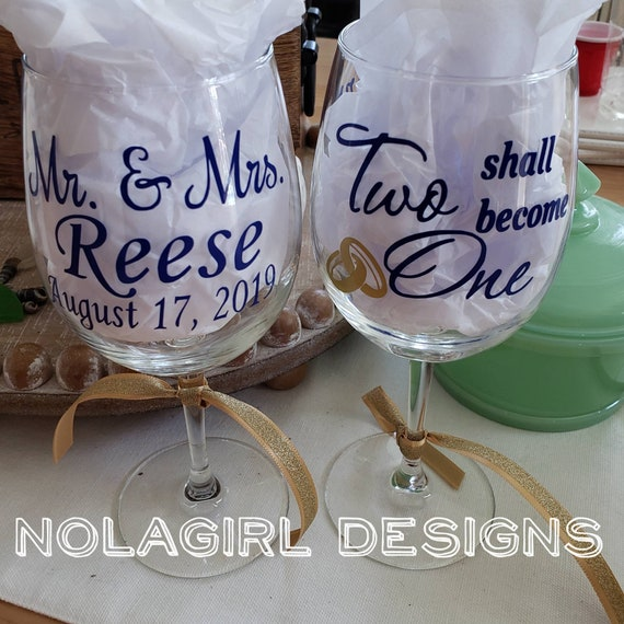 Personalized Wedding Wine Glass, Anniversary Wine Glass, Just Married, Personalized Gifts, Wedding Gift, Letters, Marriage Momento glassware
