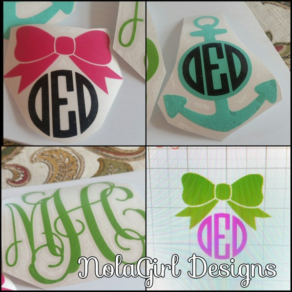 Monogram, Laptop decal, Sportsbottle decal, Car window decal, Vinyl Decal, custom decals, personalized, gifts for her, college, Teen gifts
