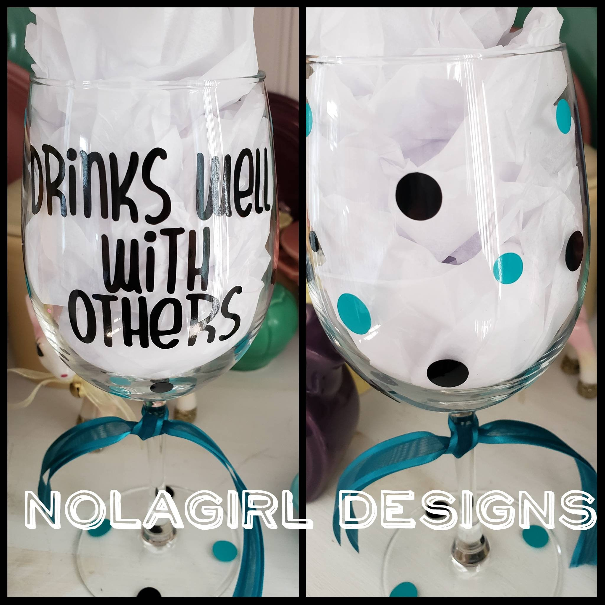 Drinks well with others wineglass, personalized, friend gift ...