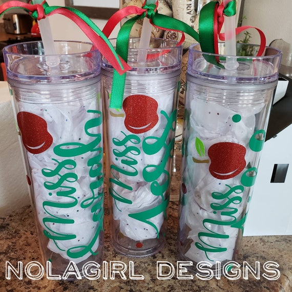 Teacher Gifts, Personalized Tumbler with straw, End of School Gift, Home School, Teacher Appreciation, Gift For Teacher, AppleTeacher Gifts