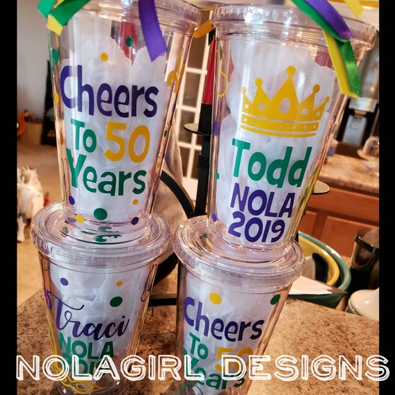 Mardi Gras Tumbler, Drink Cup, Personalized Alcohol Holder, Birthday Celebration, Bachelorette Party in New Orleans, Wedding party, NOLA fun