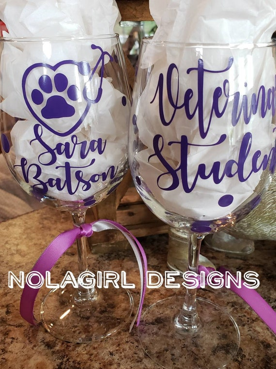 Veterinarian Wine Glass, Vet Tech Appreciation, Paw and stethoscope, Veterinary Student Gift, Stemless Glass Option, Thank you gift, Dog Dr.