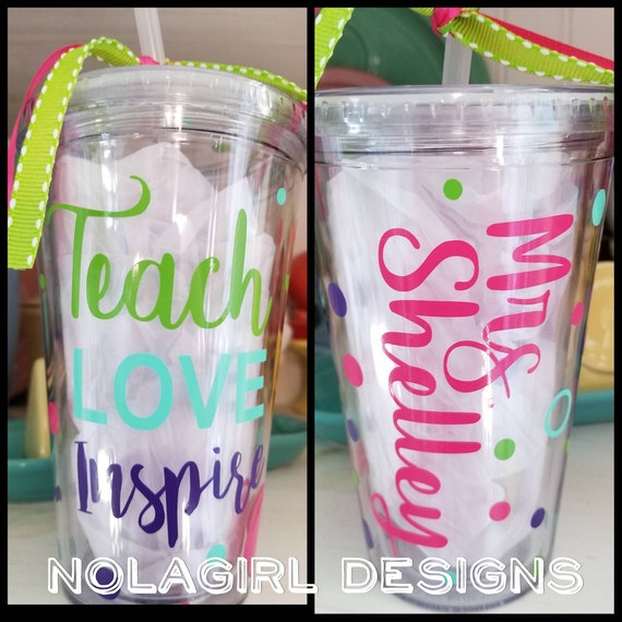 Teacher drink holder, Appreciation Gift, Teaching Assistant, Teach Love Inspire, Gift for Her, Teacher Gift, School year, Inspire, Love