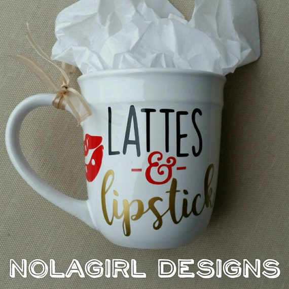 Coffee Cup Quotes, Lattes and Lipstick, Running on Coffee and Cuss Words, Ladies Gifts, Co-Worker Gifts for her,  Mother Gift Christmas