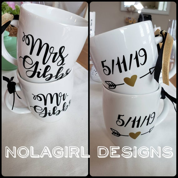 Mr. And Mrs. Coffee cups, newlyweds, wedding gift, just married, personalized gift, wedding shower, White cup, Custom colors, date, heart