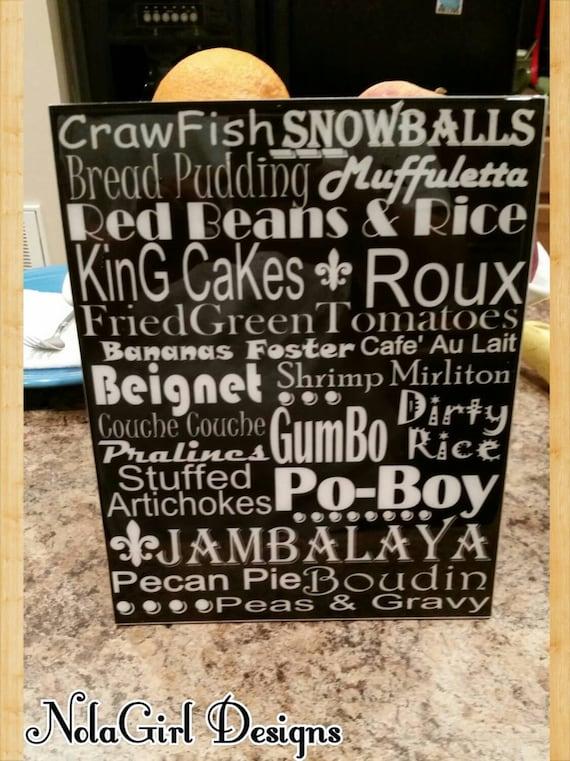 NEW ORLEANS Food Home Decor, Crawfish, Cooking, Subway Print, Kitchen Decor, Southern Food, Louisiana Cajun Food, kitchen decorations