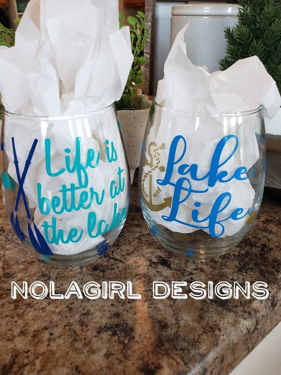 Lake Life Wine Glass, Life is better at the life, Anchor, Boat House, Lake living glass, Couples Gifts, Vacation Wine Glasses, Lake Living
