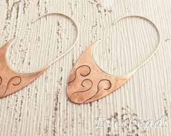 Silver earrings, Copper earrings, Hoop earrings, Floral earrings, Rustic earrings, Nature earrings, Disc earrings, Earthy earrings, Gift.