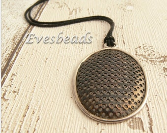 Copper necklace, Silver necklace, Oval necklace, Mesh necklace, Rustic necklace, Modern necklace, Copper pendant, Copper jewellery, Gift.