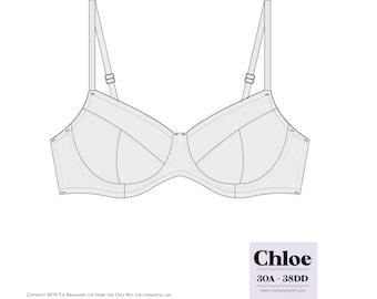 Chloe Underwire Bra Sewing Pattern PDF 30A-38DD by The BraMakery BraMaking Bra Making Bra Pattern PDF