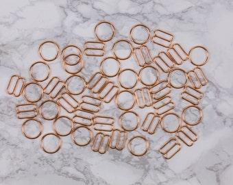 "12 Sets 5/8"" Rose Gold Metal Rings and Sliders Premium Jewelry Quality Bra Adjusters Nickel Free 12mm Bra Making Bramaking"
