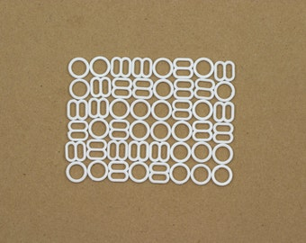 """12 Sets 1/4"""" White Nylon Rings and Sliders for Bra Making and Lingerie Sewing 6mm Bra Adjusters Bramaking DYEABLE"""