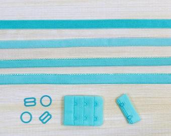 Bra Making Findings Kit in Aruba Aqua Medium Factory Dyed Bramaking Lingerie Sewing