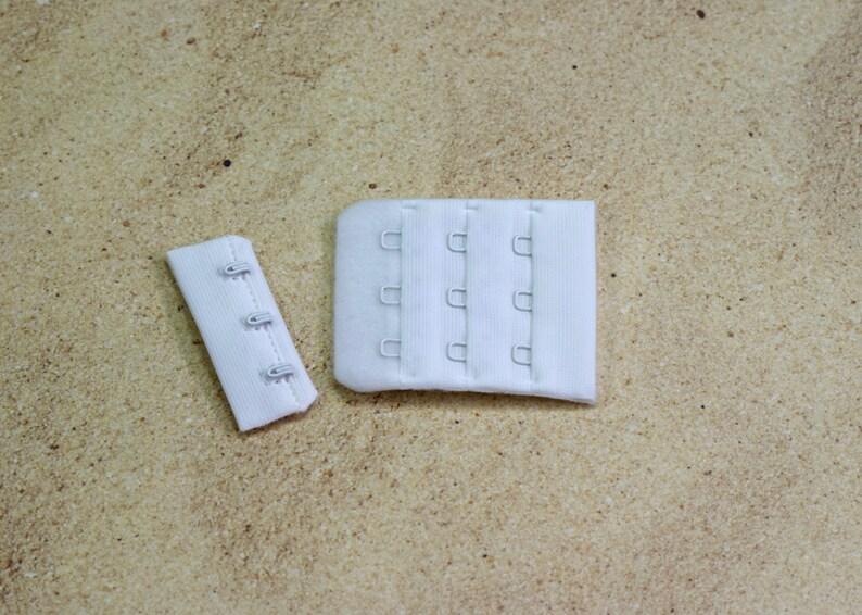 1450349e4130b 50 Sets White 3 Hook and Eye Bra Closure 1.75 x
