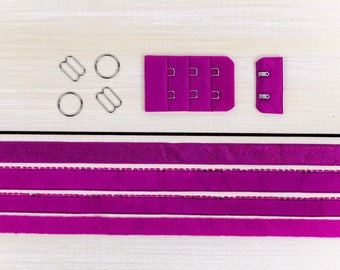 Bra Making Findings Kit in Cherry Pink Medium Factory Dyed Bramaking Lingerie Sewing