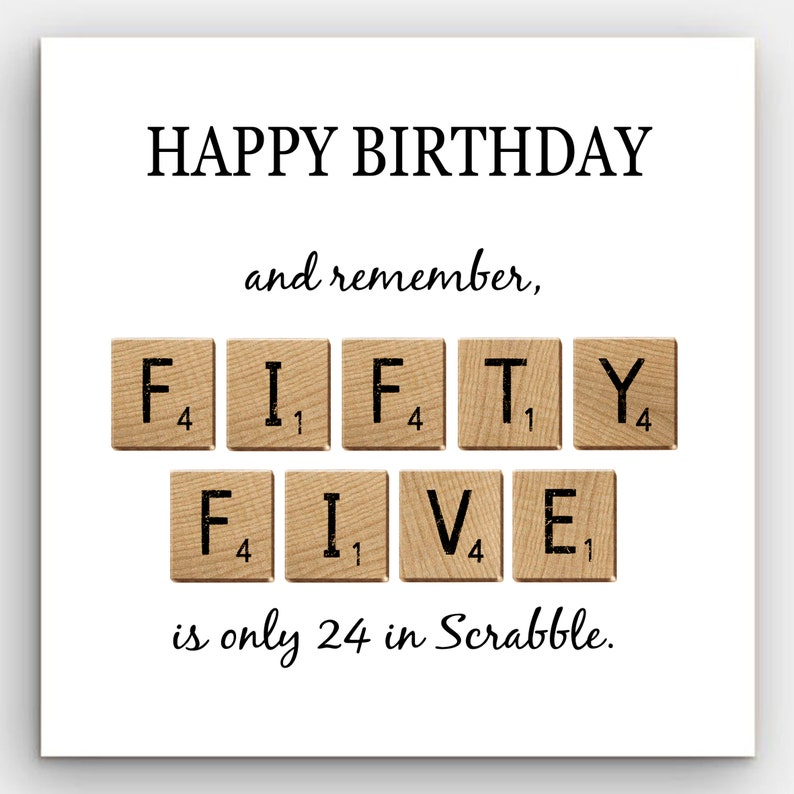 SCRABBLE STYLE BIRTHDAY Cards 55 60 Or 65 Years Old