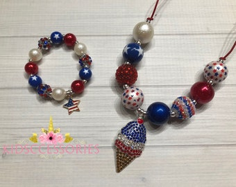 Red, White & Blue - Necklace and bracelet