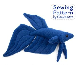 Betta Fish Stuffed Animal Sewing Pattern - PDF Digital Download - Plush Sewing DIY Project - No Physical Items Sent