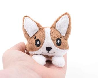 Dark Brown Corgi Stuffed Animal Plush Toy, Dog Plushie, Corgi Plush, Softie, In The Hoop Design - Made to Order