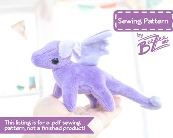 Tiny Dragon Stuffed Animal Sewing Pattern  - PDF Digital Download - Plush Sewing DIY Project - No Physical Items Sent