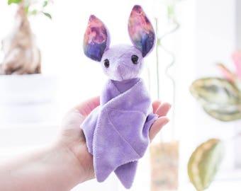 Purple Galaxy Bat Stuffed Animal Plush Toy, Bat Plushie, Softie