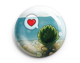Marimo Moss Ball Pinback Button, Pin, Button, Badge, Kawaii Marimo