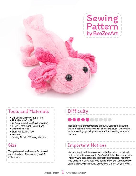 Axolotl Stuffed Animal Sewing Pattern Plush Toy Pattern PDF Etsy Impressive Best Sewing Machine For Plush Toys