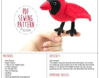 Cardinal Plush Sewing Pattern, Stuffed Animal Pattern, PDF Sewing Pattern, Digital Download