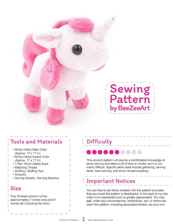 Unicorn Plush Sewing Pattern Stuffed Animal Pattern Plushie Etsy