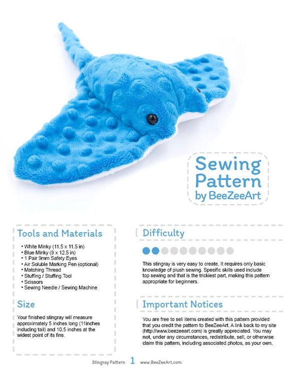 Stingray Plush Sewing Pattern Stuffed Animal Plushie Plushie | Etsy