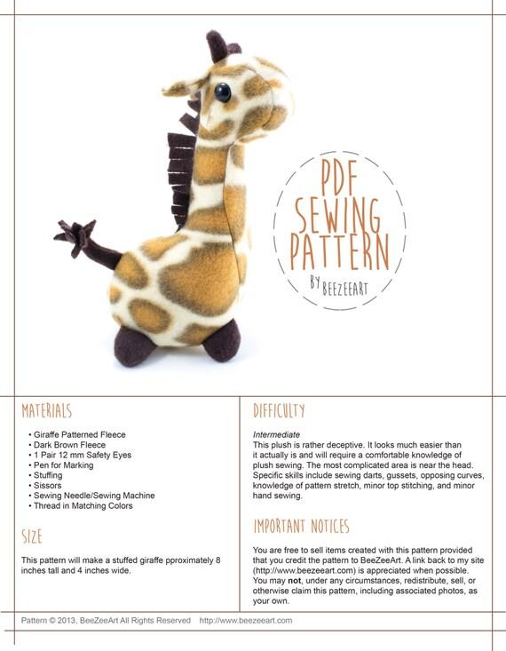 Pudgy Giraffe Stuffed Animal Sewing Pattern Plush Toy Etsy Amazing Best Sewing Machine For Plush Toys