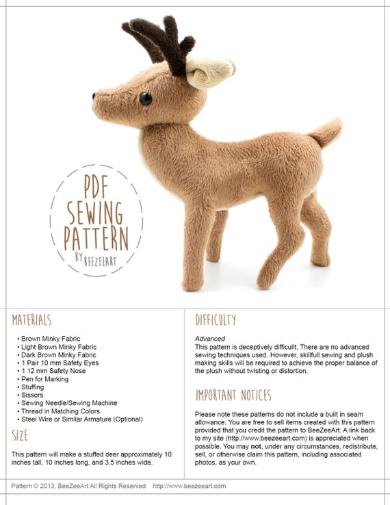 Deer Stuffed Animal Sewing Pattern PDF Pattern DIY Sewing | Etsy