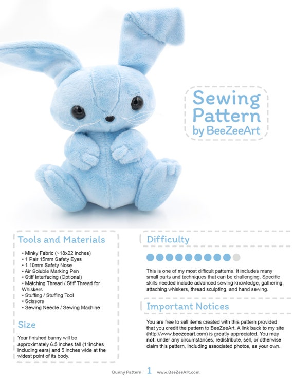 Bunny Stuffed Animal Sewing Pattern Plush Toy Pattern Rabbit Etsy Delectable Bunny Pattern
