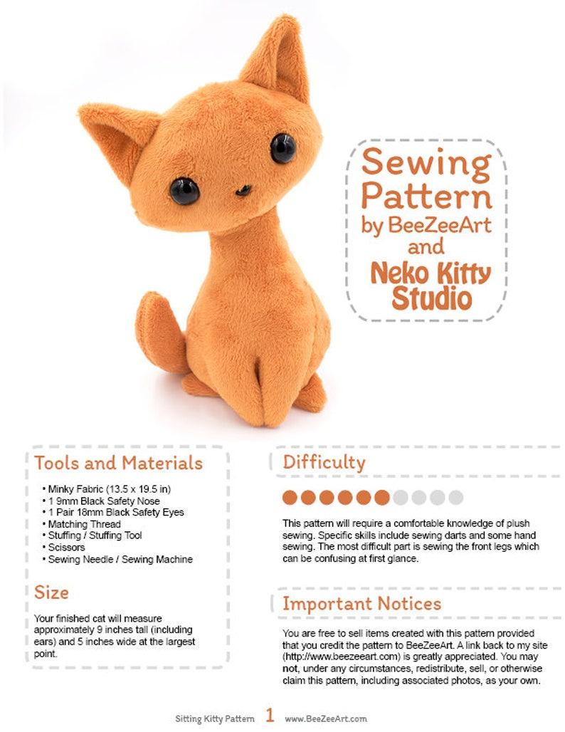 0751a5943a88 Sitting Kitty Cat Stuffed Animal Sewing Pattern Plush Toy | Etsy