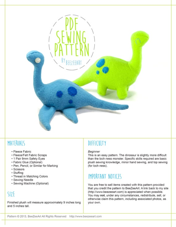 Dinosaur And Loch Ness Monster Stuffed Animal Plush Toy Sewing Etsy Magnificent Best Sewing Machine For Plush Toys