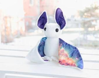 White Galaxy Bat Stuffed Animal Plush Toy, Bat Plushie, Softie