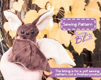 Beginner Bat Sewing Pattern  - PDF Digital Download - Plush Sewing DIY Project - No Physical Items Sent
