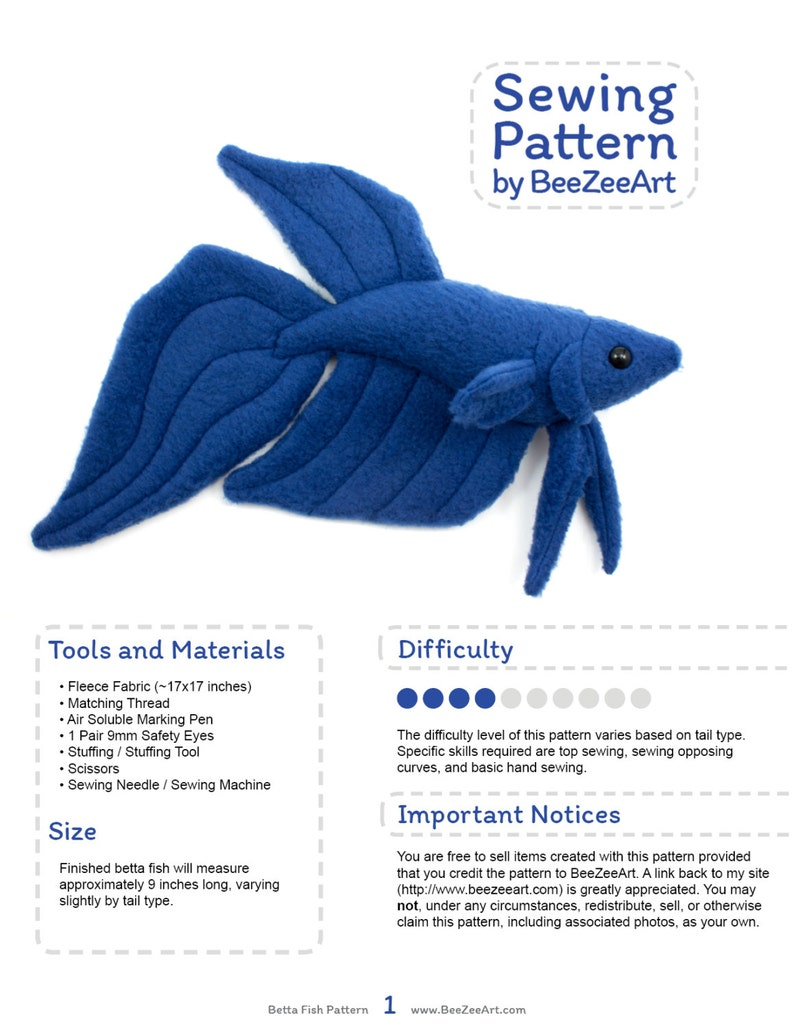 Betta Fish Sewing Pattern PDF Pattern Plushie Sewing Pattern image 0