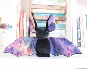 Black Galaxy Bat Stuffed Animal Plush Toy, Bat Plushie, Softie