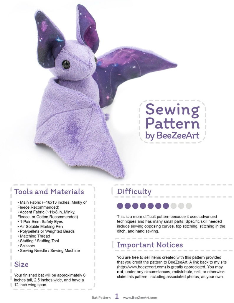 Stuffed Animal Bat Sewing Pattern Plush Toy Pattern PDF image 0