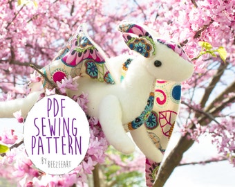 Jointed Dragon Plush Stuffed Animal Sewing Pattern - PDF Digital Download - Plush Sewing DIY Project - No Physical Items Sent