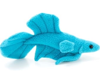 Blue Betta Fish Stuffed Animal Plush Toy - Plakat Tail Type Betta - MADE TO ORDER