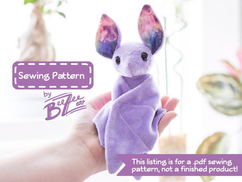 Stuffed Animal Bat Sewing Pattern  PDF Digital Download  image 0