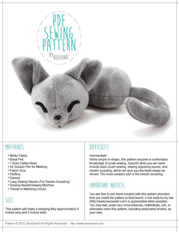 Sleepy Cat Stuffed Animal Sewing Pattern Plush Toy Pattern Etsy