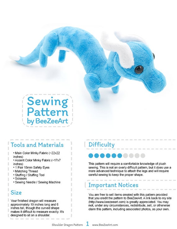Shoulder Dragon Plush Sewing Pattern Plush Toy Pattern
