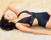Black Monokini Swimsuit With Sheer Mesh Layering - Swimwear for Women