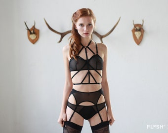 "The ""Ruby"" Harness in Black - Adjustable Black Bondage Body Harness"