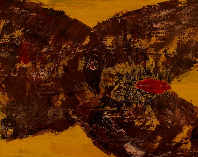 Erotic Nude African Woman Yellow Brown Abstract  Painting, Irish Artist,