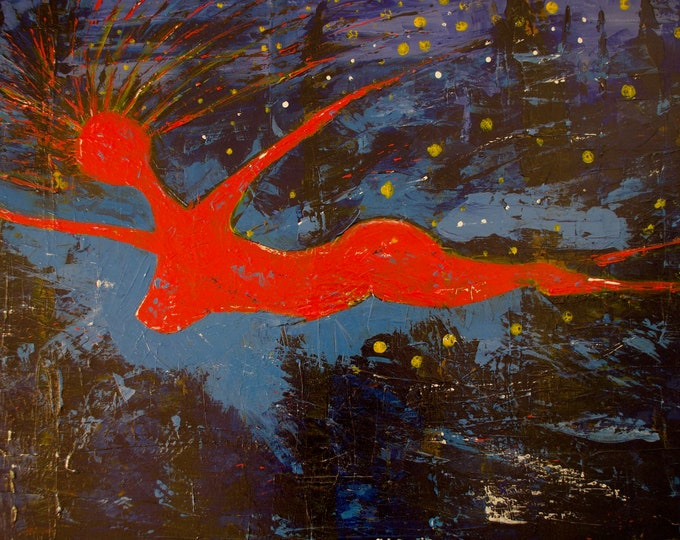 Erotic Nude Red Swimmer Painting, Contemporary Art, Abstract, Irish Painter, Water, Ocean, Free Dive, Under Water Art