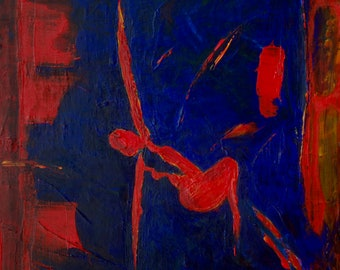 Yoga 1 Painting in Red, Nude Dancer Print On Canvas, Irish Artist, Home Decor, Art For Walls